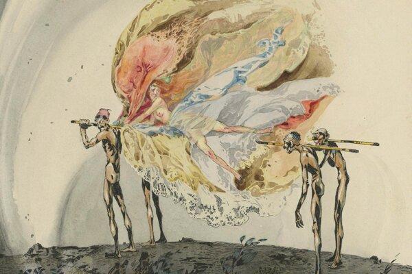 Únos, Károly Harmos, nedatované, akvarel, súkromný majetok