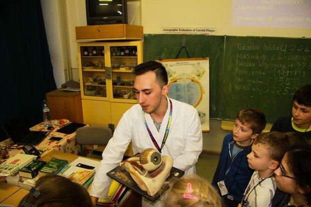 Malí výskumníci určovali so študentmi slepú škvrnu vzornom poli oka.