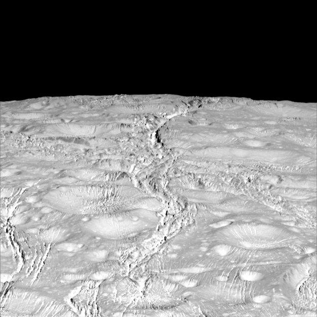 Severný pól mesiaca Enceladus.
