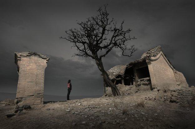 Ruiny starodávnej dediny v okrese Yuxian v provincii Hebei v strednej Číne
