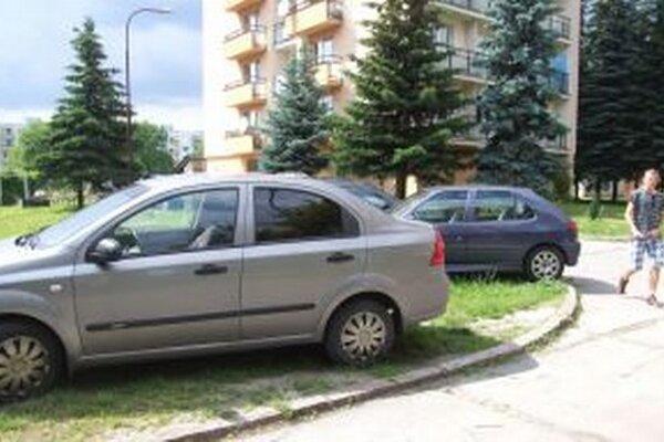 Vodiči niekedy nemajú inú možnosť a parkujú aj na tráve.