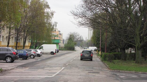 Botanická ulica, chodník vedie iba po ľavej strane vedľa parkujúcich áut.