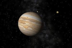 Jupiter a jeho mesiac Io.