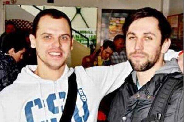 """Bývalí spoluhráči zo Szegedu Tomáš Straňovský a Attila Vadkerti sa stretli na podujatí """" Noc novozámockých hádzanátov""""."""