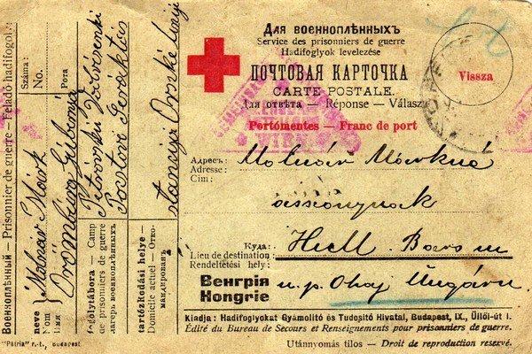 Korešpondenčný lístok za zajatia od Mareka Molnára.