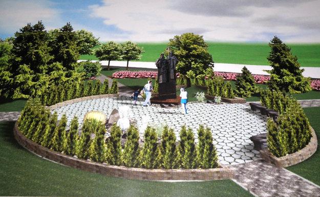 Takto by mal vyzerať park pre úradom práce po kompletnej obnove.