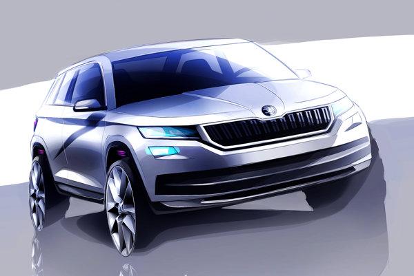 Skica Škody Kodiaq. O pohon SUV sa neskôr postará aj hybridná pohonná jednotka.