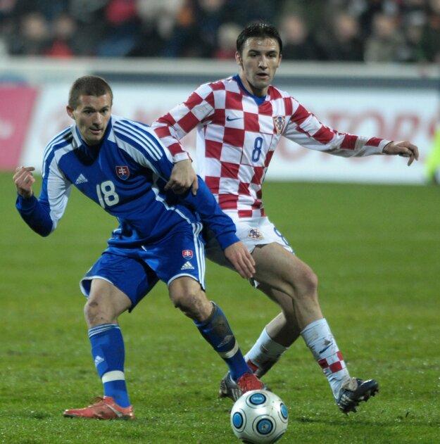 Milan Badelj (vpravo) sa pred necelými siedmimi rokmi predstavil aj v Zlatých Moravciach v rámci kvalifikácie na ME hráčov do 21 rokov.