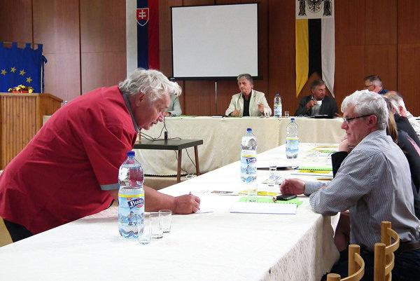 Vladimír Natšin (vľavo) vysvetľuje poslancom, kde treba dorobiť chodník.
