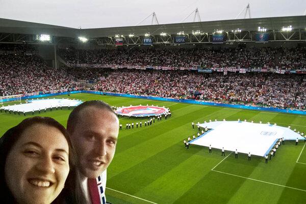 Filip Dobiaš s partnerkou Natáliou Valovičovou si užili zápas Slovenska s Anglickom na ME 2016.