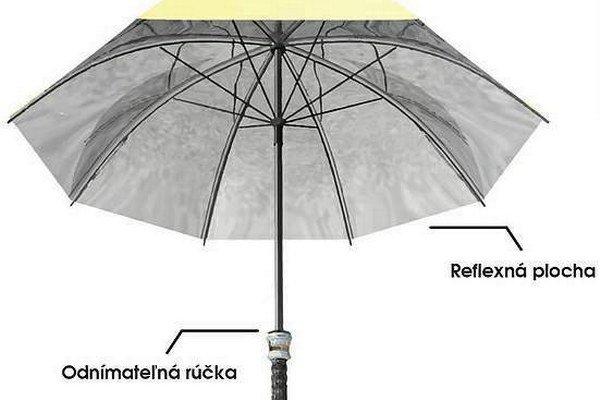 Špeciálny ľahučký dáždnik. V rúčke má termogenerátor.