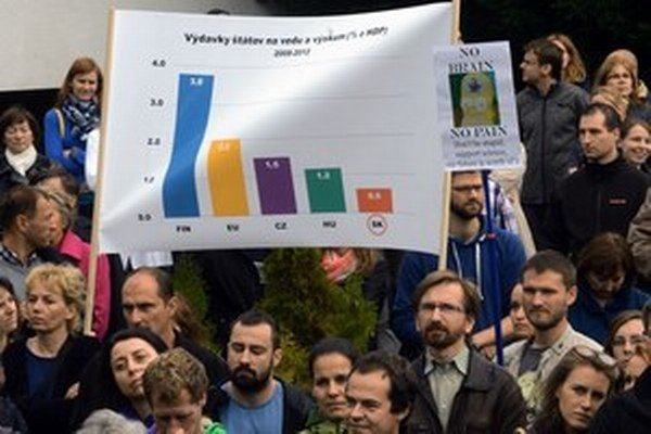 Októbrový protest v areáli SAV.