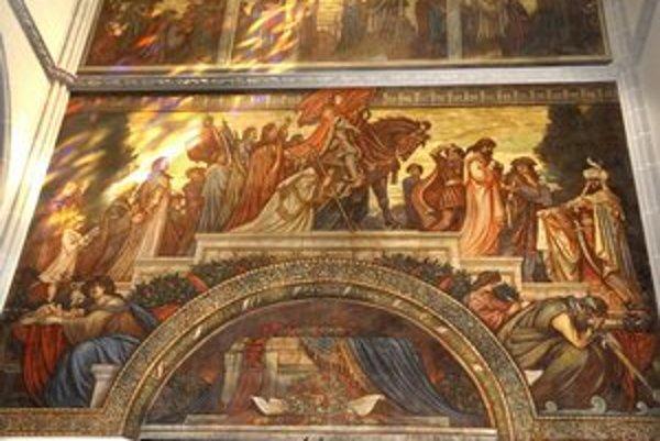 Obnovená Apoteóza. Na tróne vidieť tureckého sultána, vedľa francúzskeho kráľa a hore uprostred chrám Hagia Sofia.
