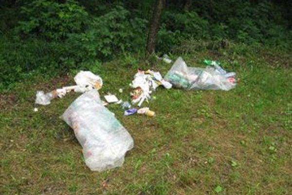 Bordel. Namiesto do neďalekej smetnej debny pohadzujú návštevníci lesoparku odpad kde príde.