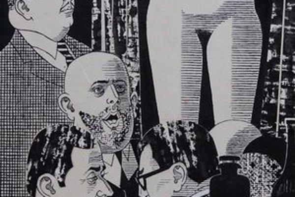 """Ladislav Guderna. Ilustrácia k básni Andreja Voznesenského """"Striptíz""""."""