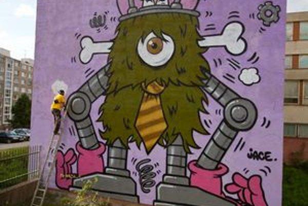 Grafiti ako umenie. Minulý rok sa takto skrášlila sivá stena jednej zo škôl na Furči.