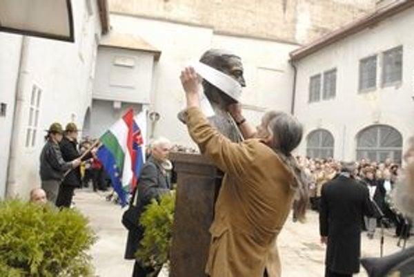 Peter Kalmus pri oblepovaní busty.