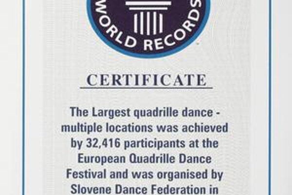 Certifikát Guinnessovej knihy.