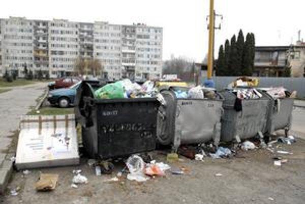 Kontajnery na sídlisku. Pred minulotýždňovým príchodom smetiarov praskali vo švíkoch.