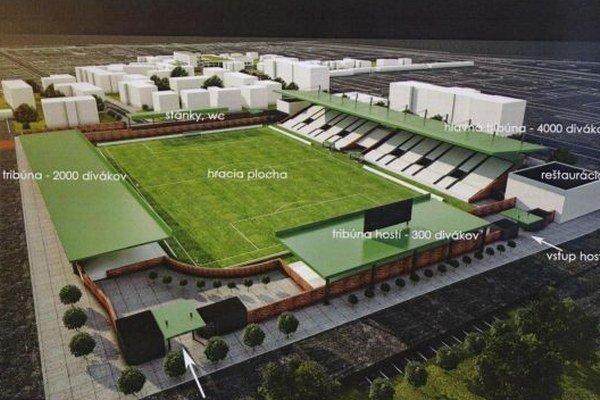 Vizualizácia nového štadióna Tatrana. Z prestavby zrejme tak skoro nič nebude.