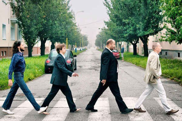 Rodení Prešovčania si uctili 45. výročie albumu Beatles. Zľava Michal Kobulský, Rastislav Dzijak, Eduard Skonc, Richard Pavlovič