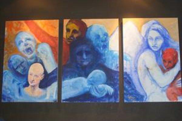 Trilógia obrazov. Autorom je Šimon Hrebíček.