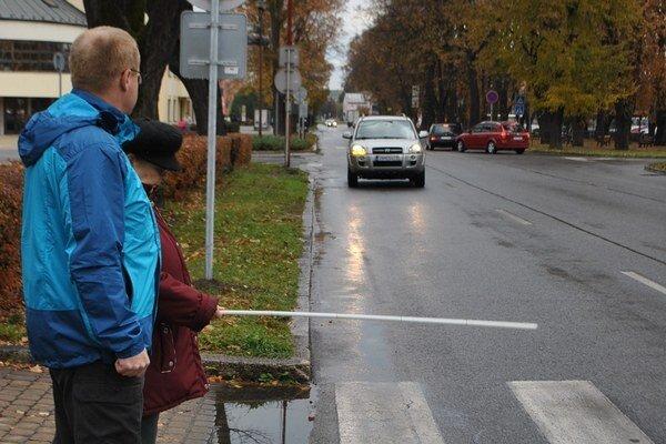 Deň bielej palice. Poukázal na ohľaduplnosť vodičov voči nevidiacim.