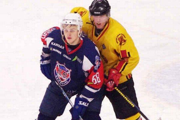 Tomáš Hričina (v modrom). Vrátil sa do tímu po zranení.