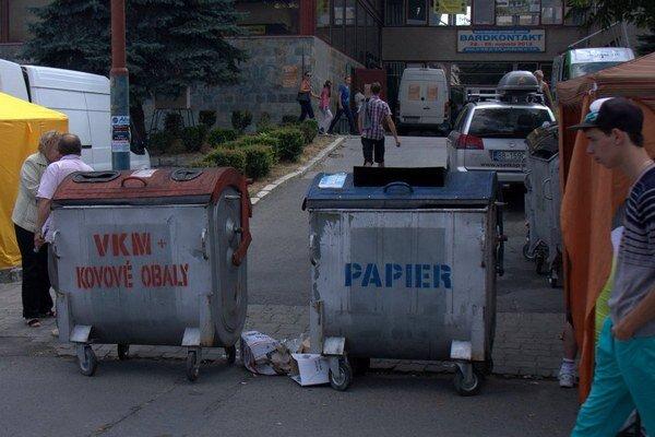 Vstup na výstavu Bardkontakt 2013. Chodník zatarasili odpadkové koše.