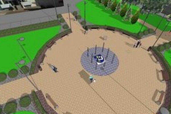 Návrh a projekčné spracovanie revitalizáciu parku v Humennom pred hotelom Karpatia.