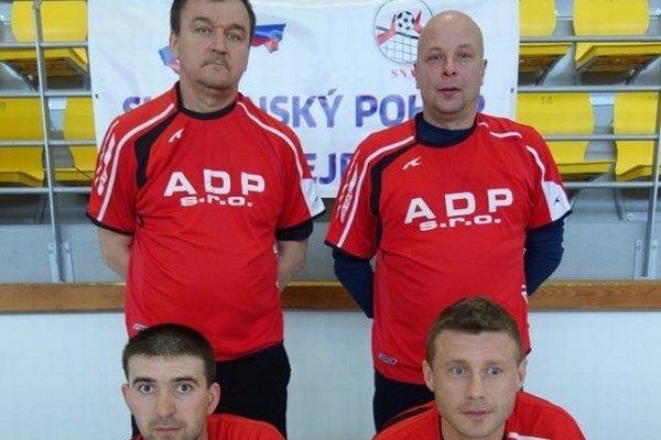 ŠK Laborec Humenné. Strieborní. Stoja zľava Marián Mihok, Vladimír  Vasilko, v podrepe zľava Lukáš Gabák a Gabriel Horvát.