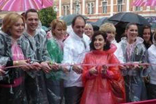 Štart. Mediálne známi ľudia odštartovali pochod upozorňujúci na potreby prevencie proti rakovine prsníka.