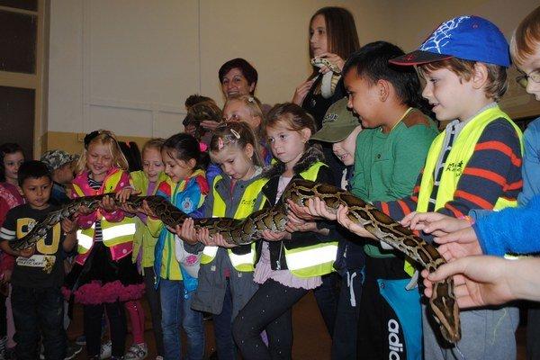 Strach z hadov nemajú. Takto si zapózovali deti s dvojmetrovým pytónom mriežkovaným.