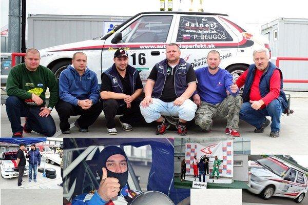 Pavol Dlugoš so svojím tímom. Strieborný jazdec pred svojím autom tretí zľava.