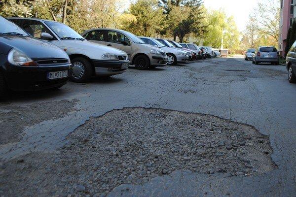 Parkoviská na Murgašovej ulici. Vodičov v súčasnosti trápi nedostatok parkovacích miest a výtlky. Aj toto rozbité parkovisko prejde rekonštrukciou.