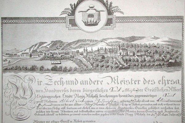 Veduta. Najstaršie známe vyobrazenie Michaloviec, koniec 18. – začiatok 19. storočia. V roku 2014 si mesto pripomenie 770. výročie nateraz najstaršej známej písomnej zmienky o Michalovciach.