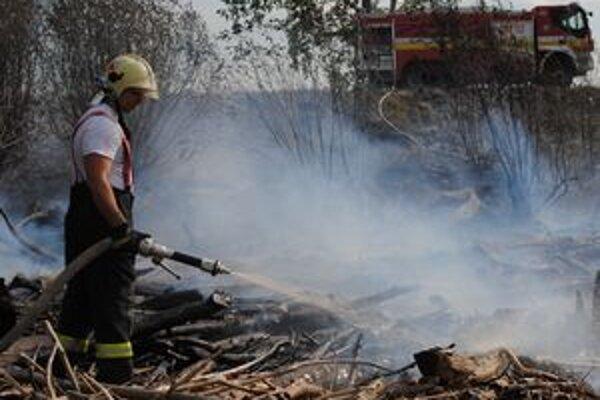 Požiar naplaveného dreva na pláži likvidovali hasiči vodou zo Šíravy.