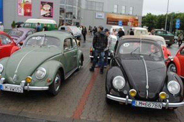 Najstaršie autá. Nechýbali výnimočné zberateľské kusy. Títo dvaja chrobáci sú z roku 1952.