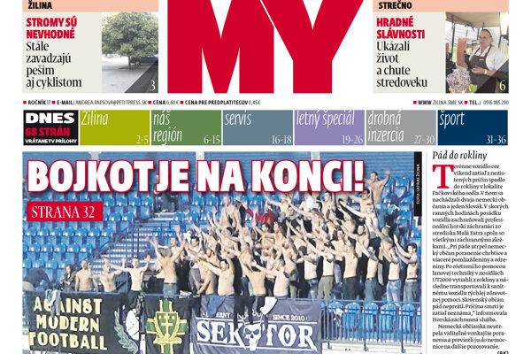 Titulka aktuállneho vydania MY Žilinských novín.