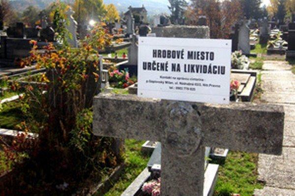 Tabuľky sú na hroboch, ktoré by mali byť zlikvidované.