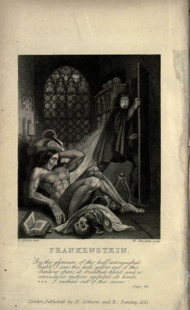 Vnútorná strana knihy Frankenstein z roku 1831