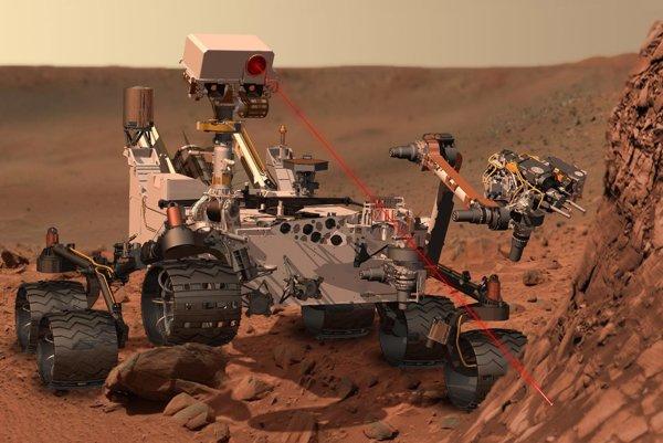 Ilustrácia roveru Curiosity na Marse.