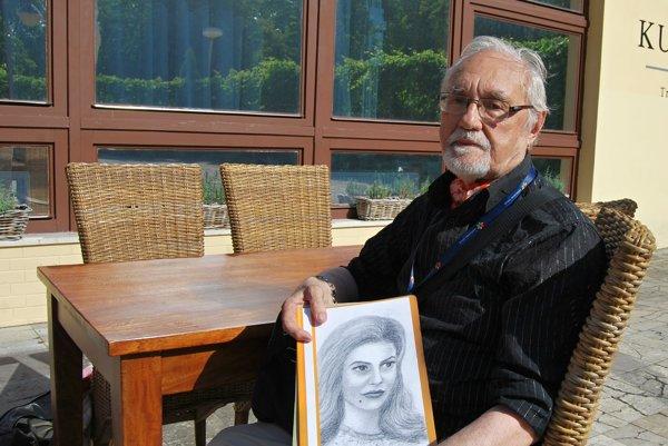 Vojtech Brada maľuje portréty slávnych hercov.