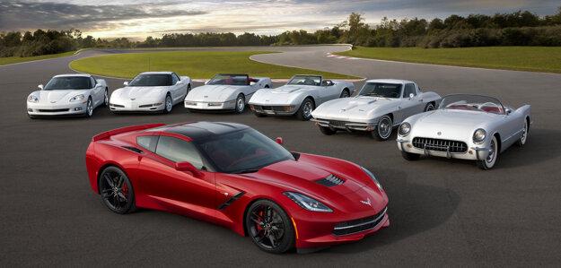 Všetkých sedem generácií Chevroletu Corvette pokope.