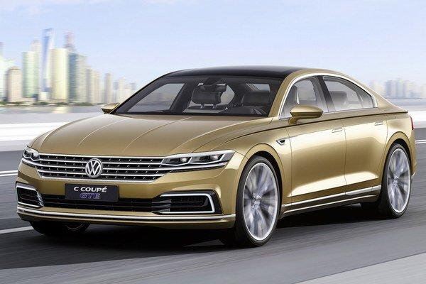 Štúdia Volkswagen C Coupé GTE. Táto štúdia s výraznou chrómovanou mriežkou je predobrazom budúcej sériovej luxusnej limuzíny, určenej pre čínsky trh.