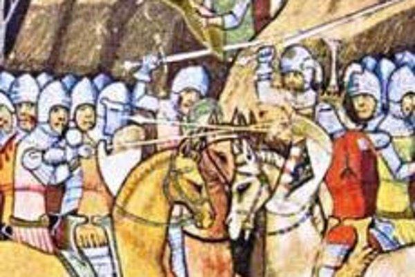 Výjav z Viedenskej obrázkovej kroniky. Kamenný svedok Bitky pri Košiciach – hrad na Hradovej – je v pozadí.