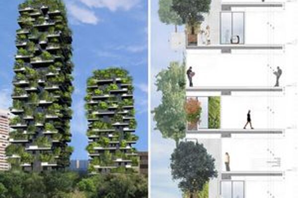 """""""Lesný"""" dom. V Miláne sa budujú dve obytné veže, ktoré budú po obvode """"zalesnené""""."""