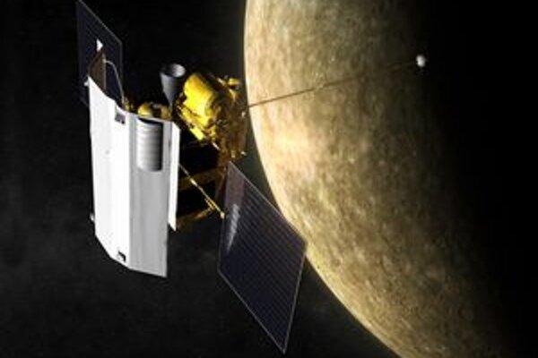 Kresba sondy Messenger. Po šesť a pol roka trvajúcom lete sa sonda dostala na obežnú dráhu okolo planéty Merkúr.