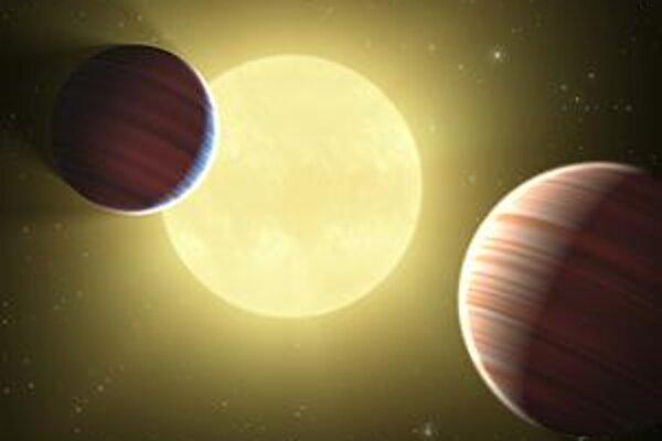 Obr. NASA - Kepler. Kresba dvoch planét pred jednou hviezdou. Vesmírna sonda Kepler hľadá planéty, na ktorých by boli podmienky pre život.