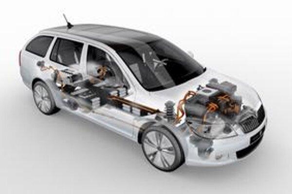 Škoda Octavia Green E Line. Rez vozidlom - blok akumulátora je uložený pod podlahou a čiastočne aj v batožinovom priestore.